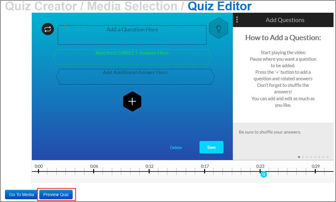 click preview quiz