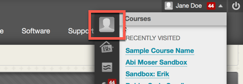 Click the profile picture next to courses