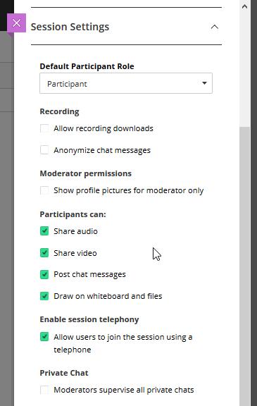 enter session settings