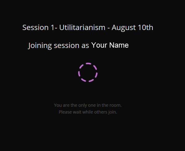 Loading screen for joining a session
