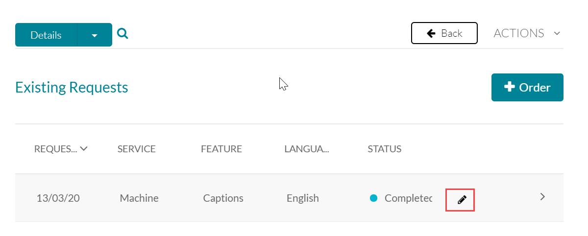 click pencil icon to edit captions