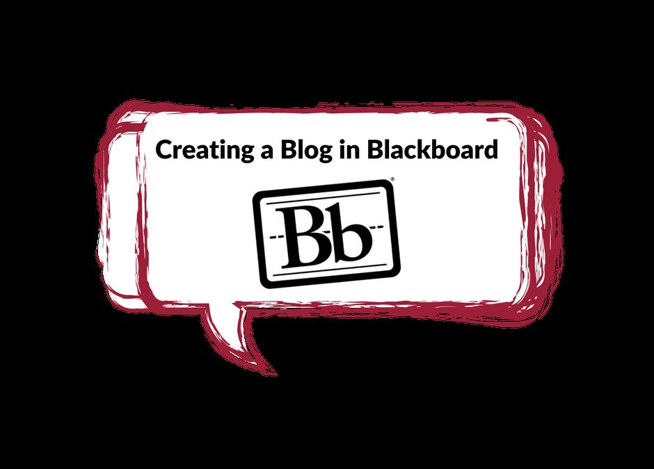 Creating a Blog in Blackboard