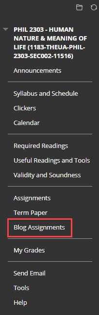 click content area in the course menu