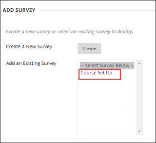 select the survey from the list