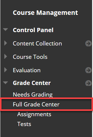 Click on Grade Center