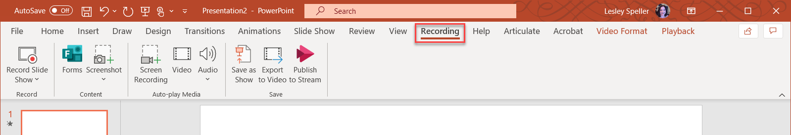Click on the Recording tab.
