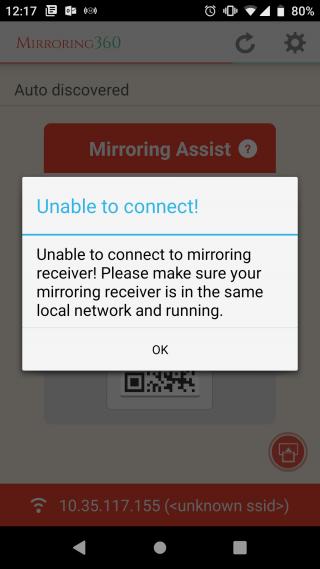 wifi error for mirroring 360 app