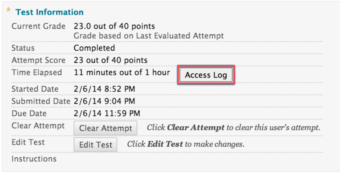 Click on Access Log