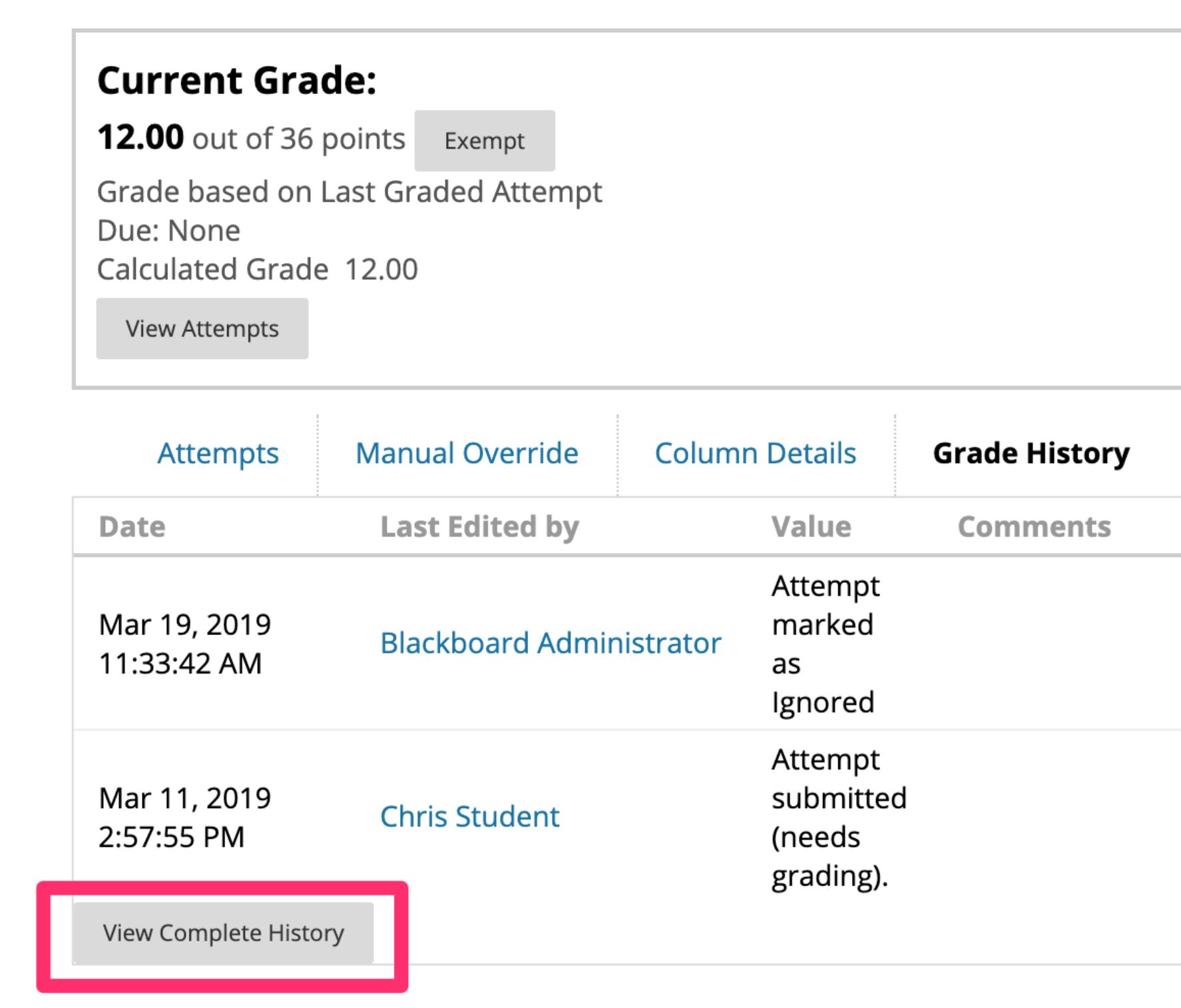 Grade History Tab Example