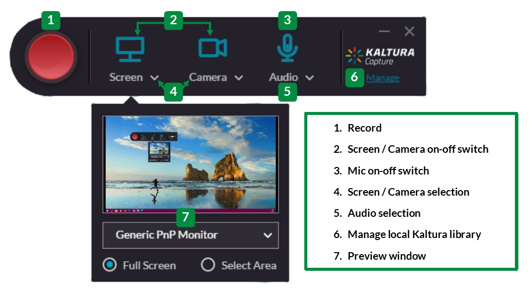 Kaltura Capture Interface