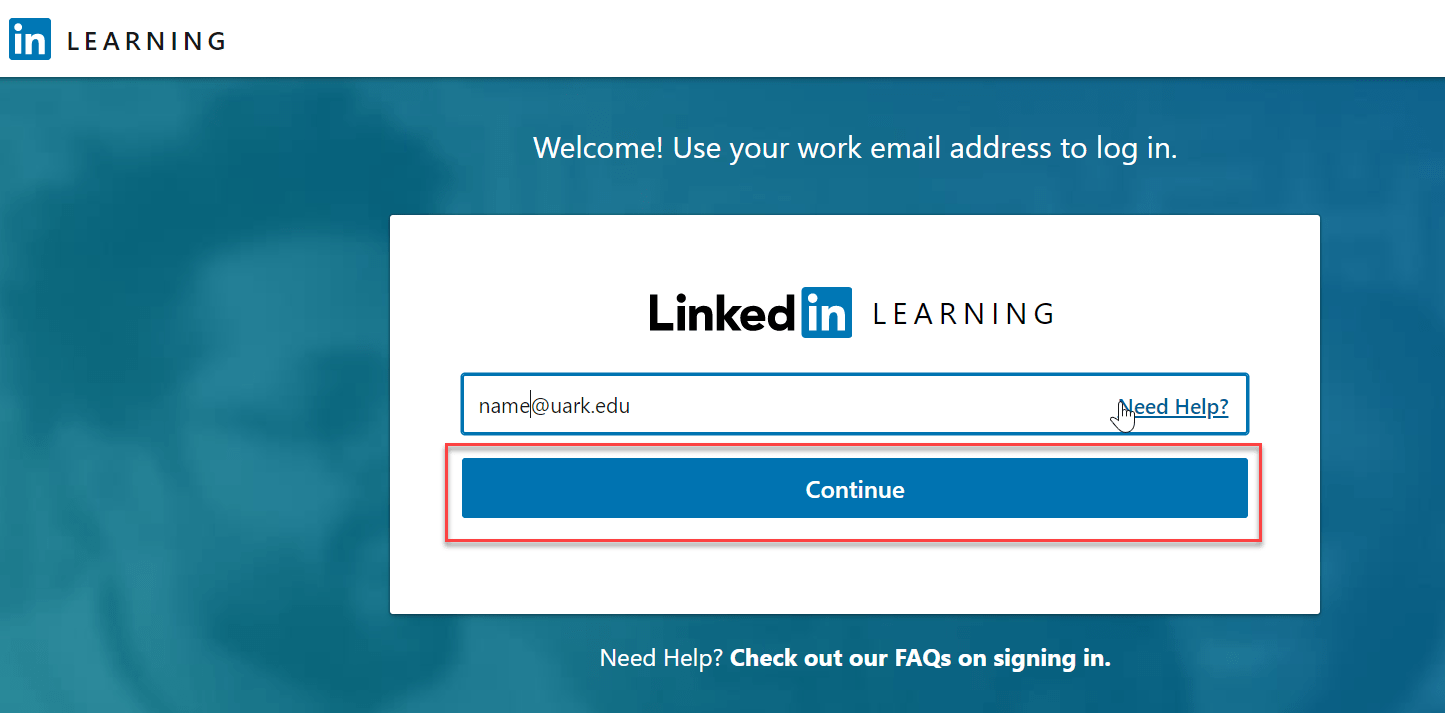 enter your uark email and click continue