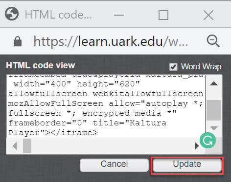Copy and paste your text and then click update.