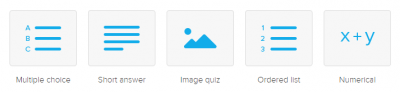 You can add five different polling/activity options: multiple choice, short answer, image quiz, ordered list, numerical