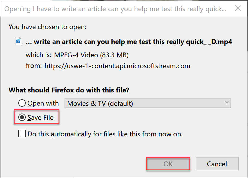 Click Save file and then click OK