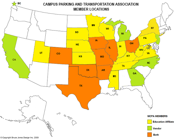 Campus Parking And Transportation Association Promoting And - Map of all us colleges and universities