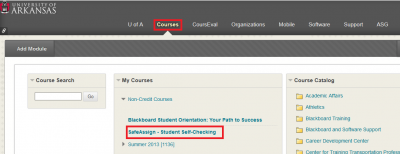 SafeAssign course page link under Courses.