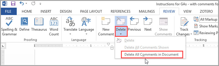 Removing Comments and Tracked Changes from a Word Document   Blackboard  Help for Students