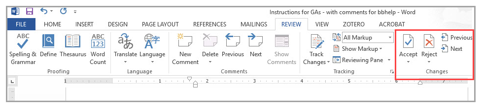 Removing Comments and Tracked Changes from a Word Document | Blackboard  Help for Students