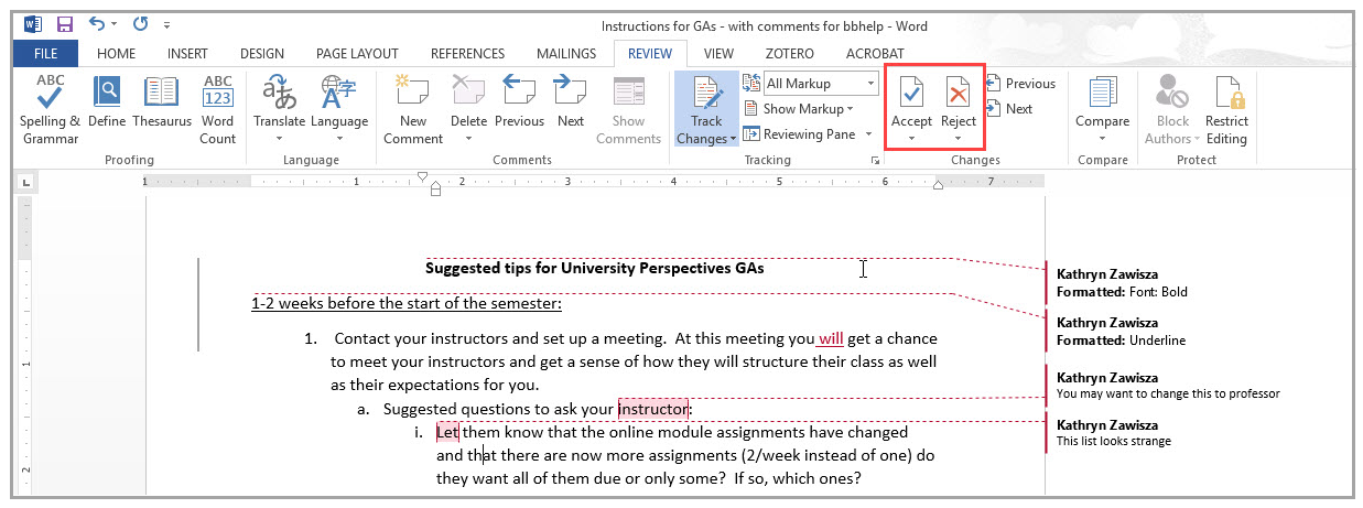 Removing Comments and Tracked Changes from a Word Document
