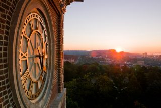 Old Main clock tower overlooking Fayetteville