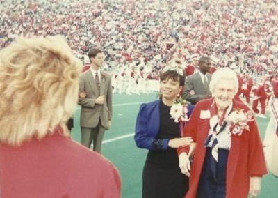 Monica Jones and Mrs. McGill (former Homecoming Queen) during 1994 ceremony