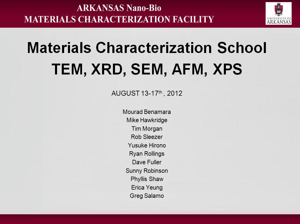 Material Characterization School