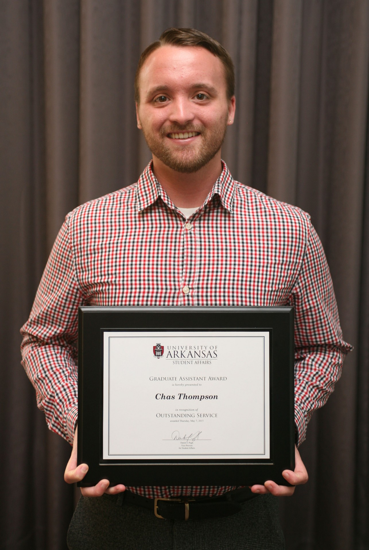 Chas Thompson received the Outstanding Graduate Assistant Award for 2014-2015.