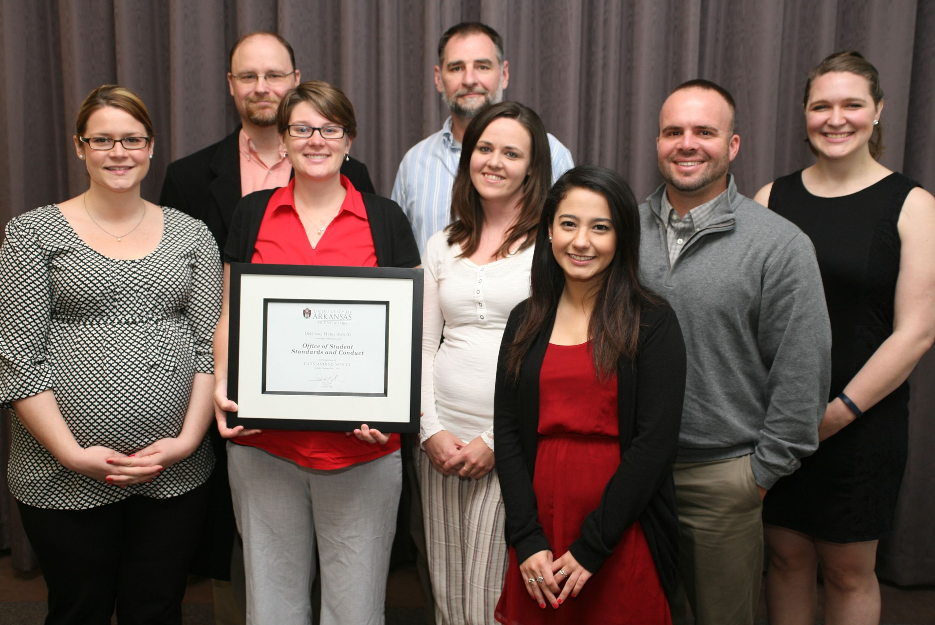 The Office of Student Standards and Conduct received the Unsung Hero Award.