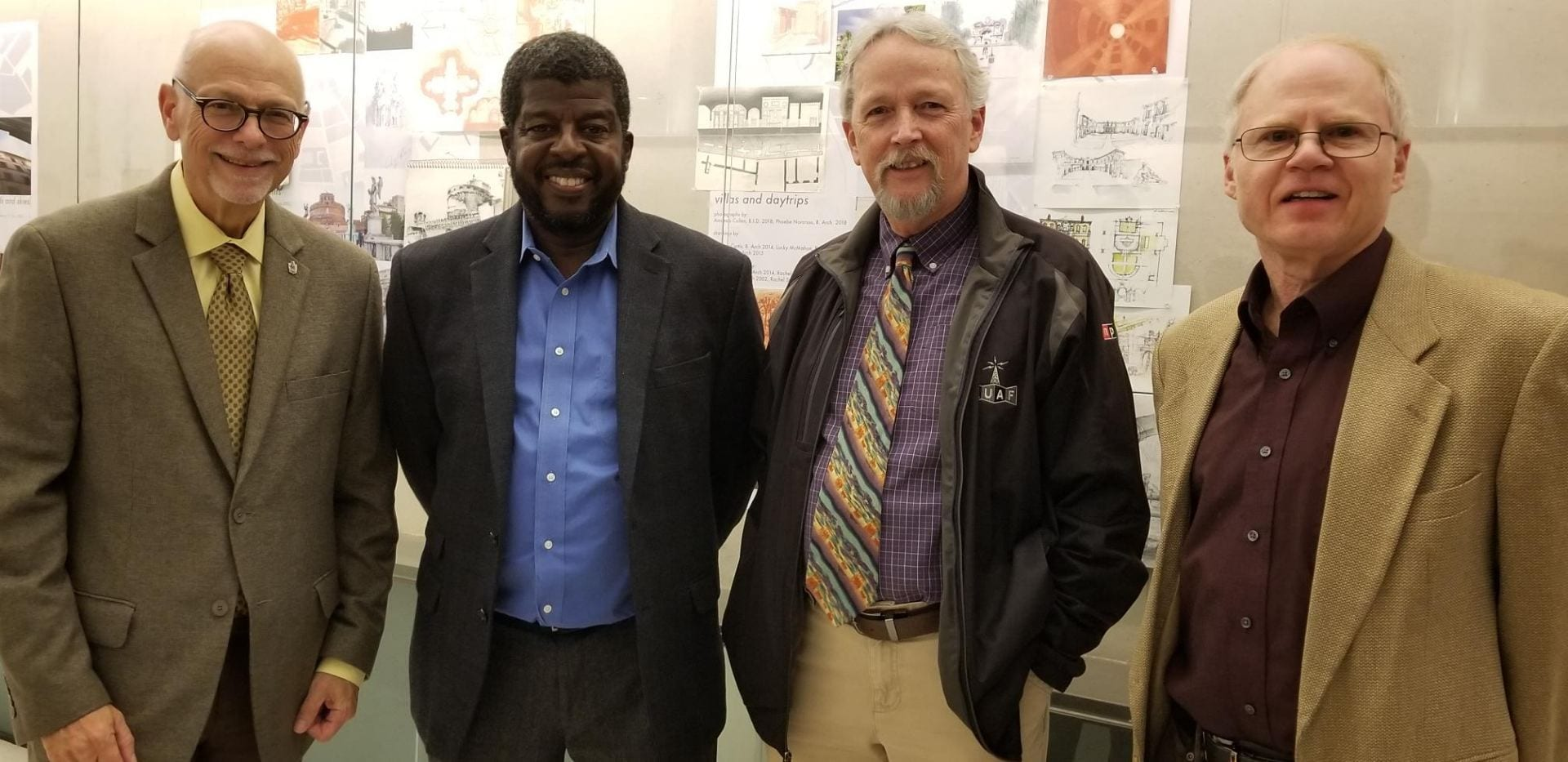 University of Arkansas Chancellor Joseph Steinmetz, left, was among attendees. Also pictured are VDP Holmes, Director-KUAF Rick Stockdell and journalism lecturer David Edmark. 10/18/18