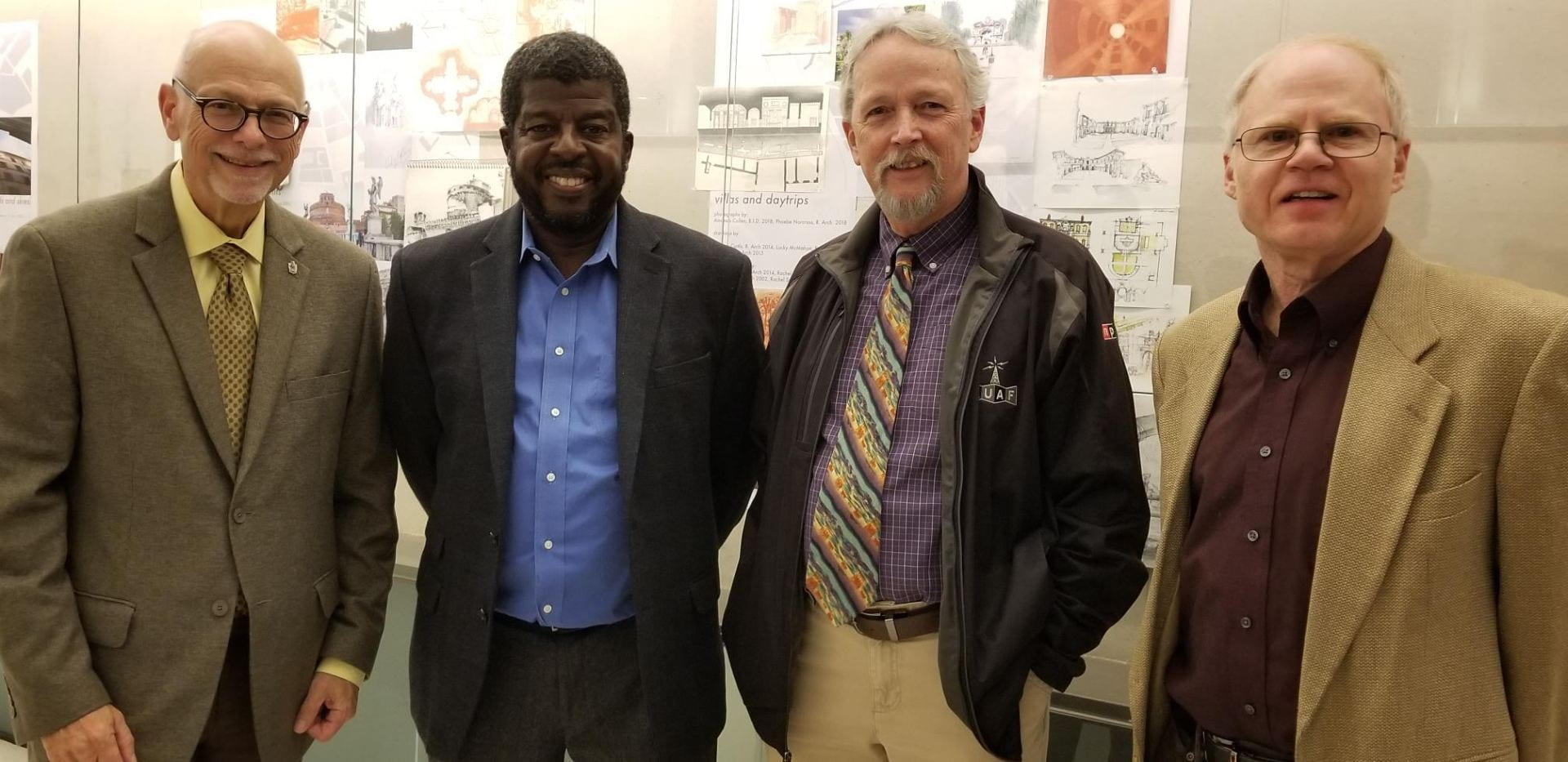 University of Arkansas Chancellor Joseph Steinmetz, left, was among attendees. Also pictured are VDP Holmes, Director-KUAF Rick Stockdell and journalism lecturer David Edmark.