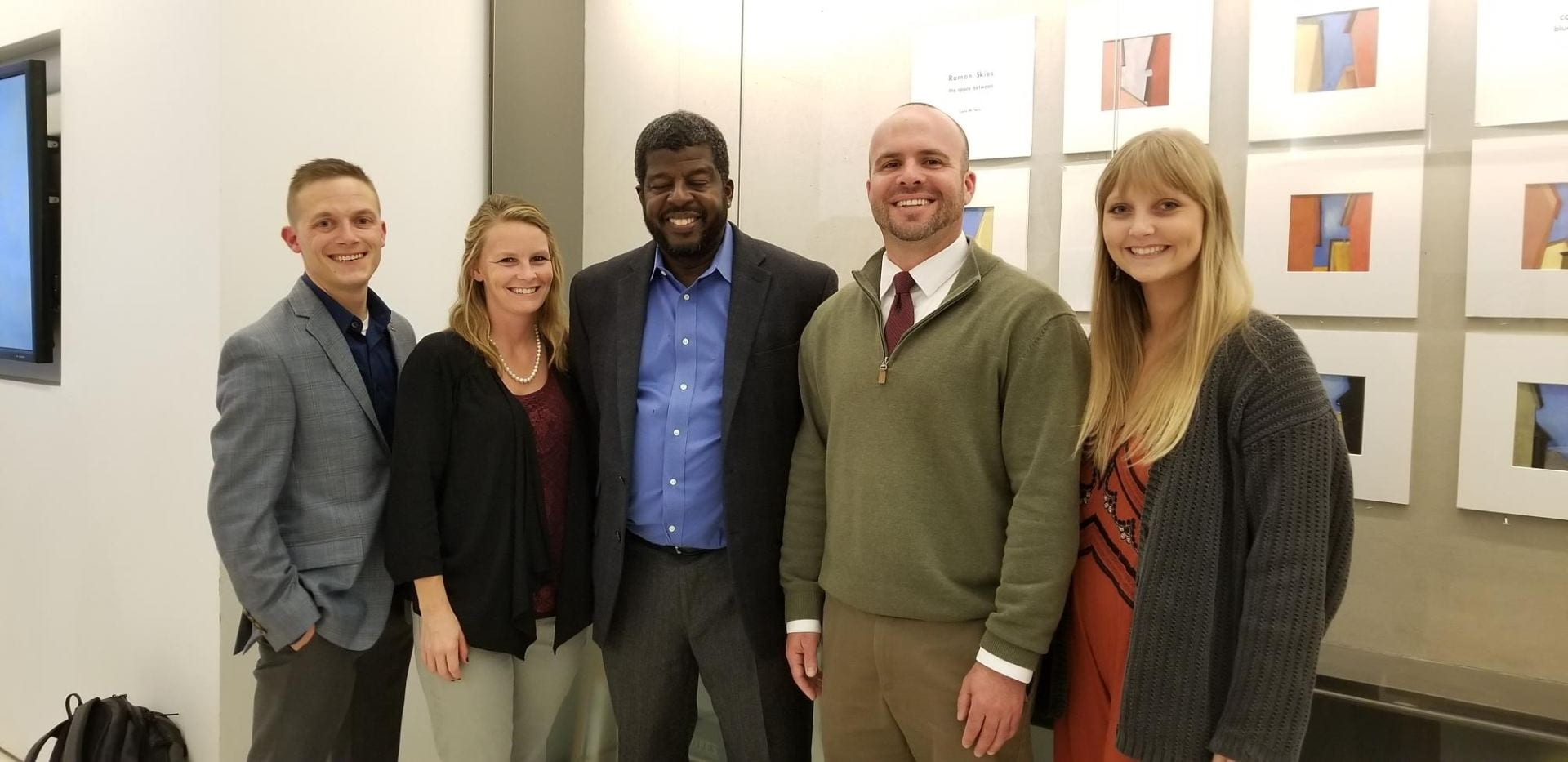 This team coordinated efforts that made Global Ethics Day a success. Pictured, Academic Integrity and Initiatives staff from left, graduate assistant JD DiLoreto, program coordinator Hannah Johnson, VDP Holmes, executive director Chris Bryson, and ASG coordinator Carsen Sims, Oct. 2018