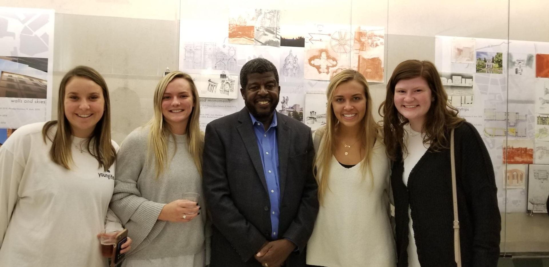 A few business foundation students also attended. Pictured, from left, are Kaitlin Ates, Baylee Knight, VDP Holmes, Jules Fletcher and Katelin Barger.Global Ethics Day with CNN's Steve Holmes, Oct. 2018