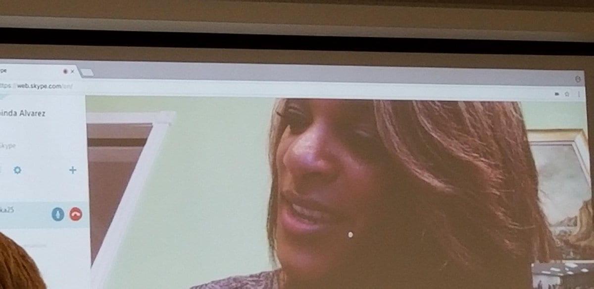 CNN senior political reporter Nia-Malika Henderson Skyped with journalism students, Oct. 2018.