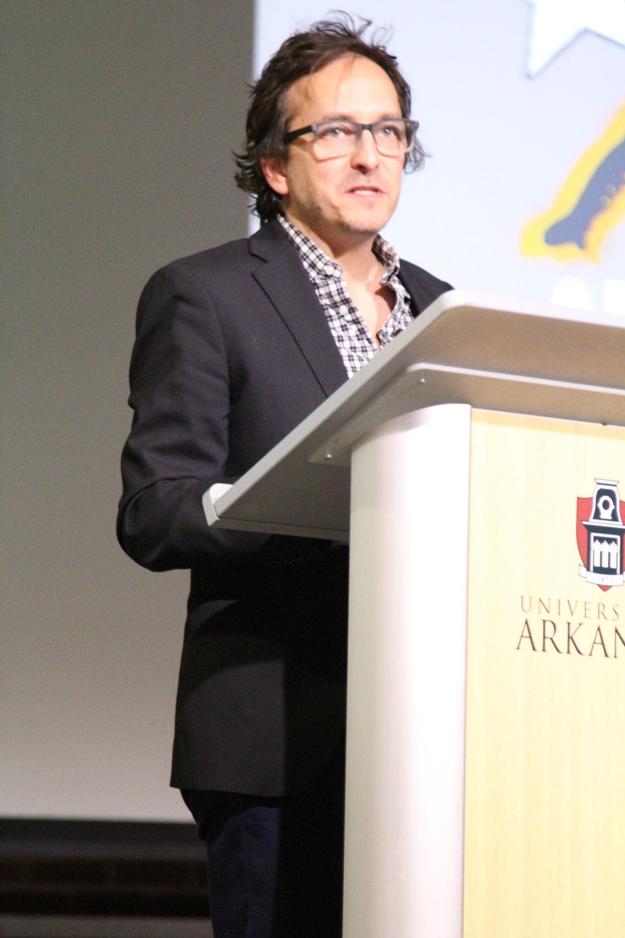 Renaud presented at the David and Barbara Pryor Center downtown Fayetteville, Nov. 20.