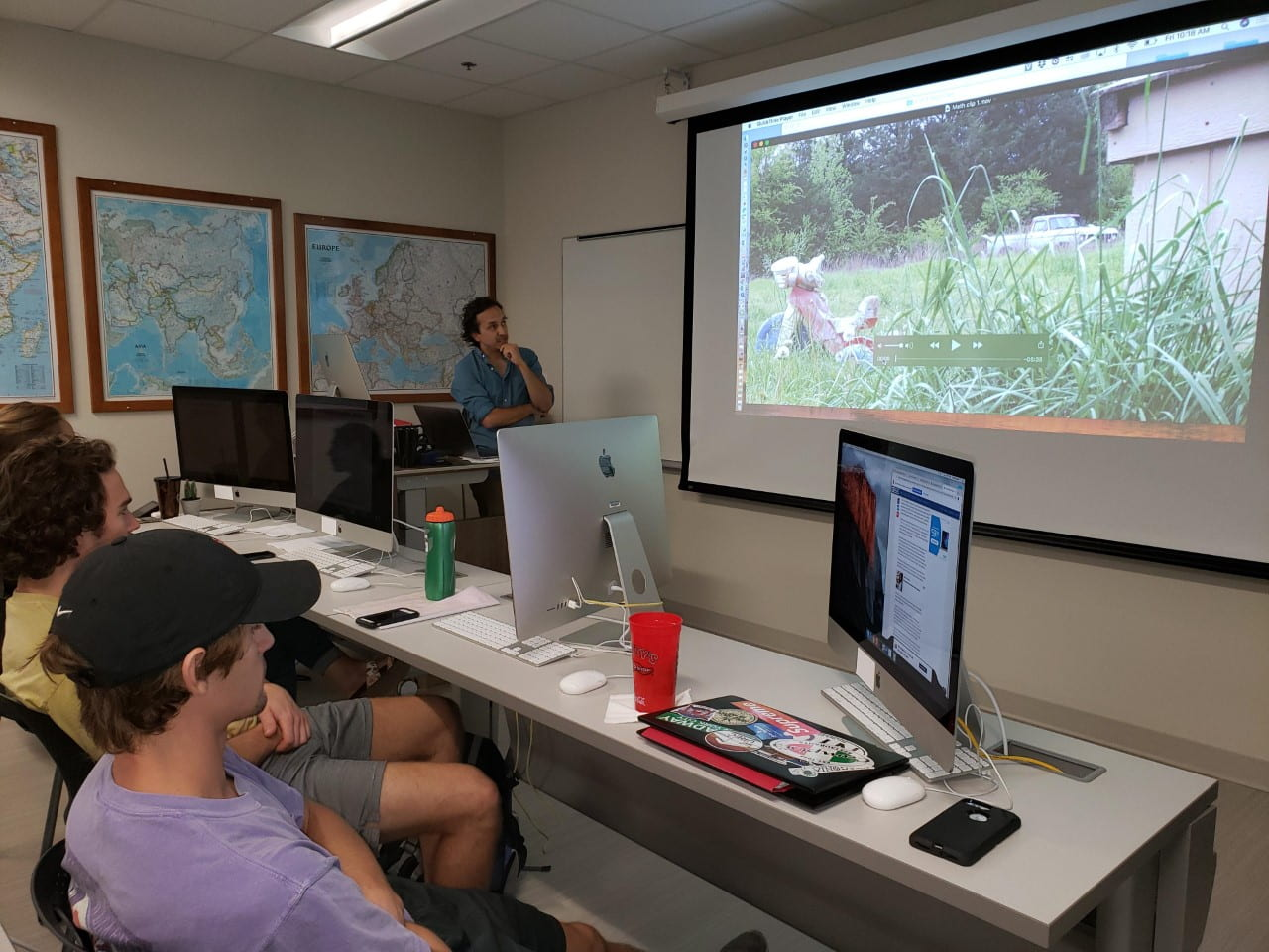 Renaud discusses film with Hayot Tuychiev's digital media class, Sept. 2019