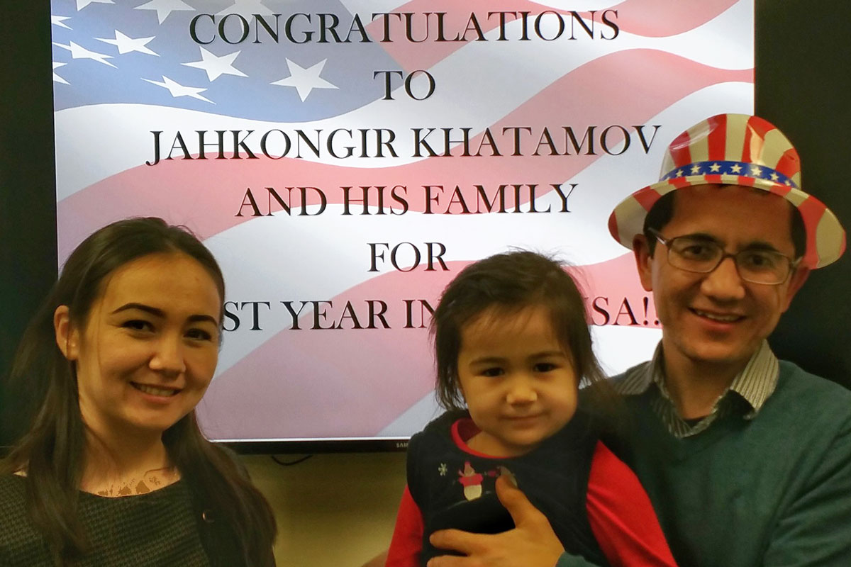 Hall Staff Celebrate Jahongir Khatamov's First Year in the US
