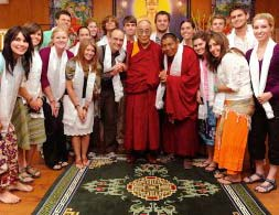 University of Arkansas students with His Holiness the Dalai Lama on their trip to India in 2009.