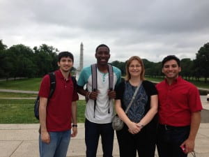 From left to right: Travis Cantu (graduate student, Betancourt/Irvin lab), Davontae Habbit (undergraduate student, Sun Lab), Dr. Irvin, and Jose Dominguez (undergraduate student, Betancourt lab) in Washington D.C. for a National Science Foundation meeting, May 2013.