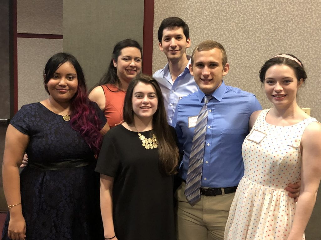 Irvin Research Group members who received awards at the Spring 2018 Chemistry Awards Banquet