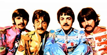 The Beatles photographed in the outfits from their album Sgt. Pepper's