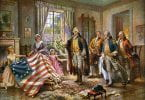Painting depicting the story of Betsy Ross presenting the first American flag to General George Washington, by Edward Percy Moran