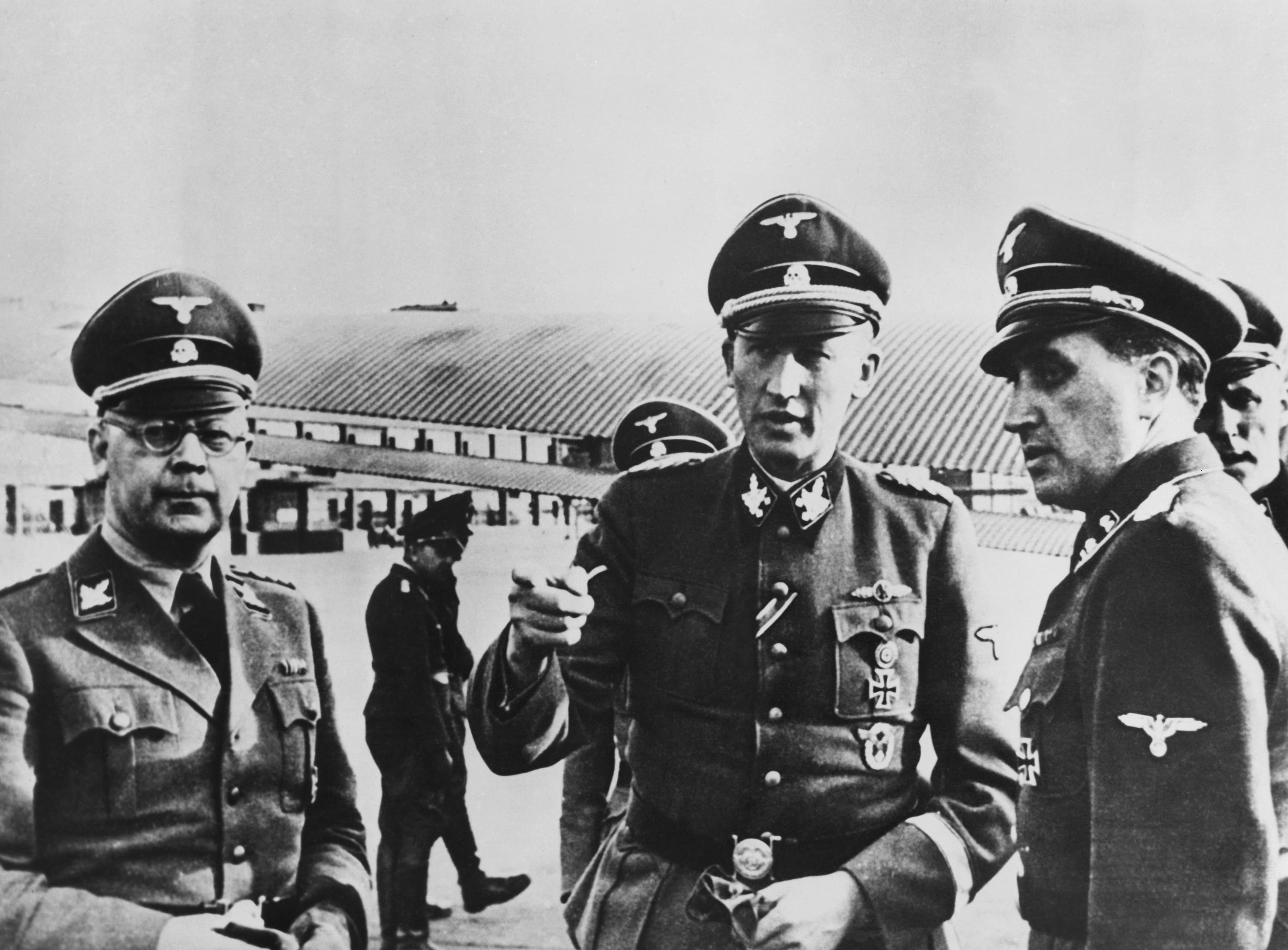 Reinhard Heydrich, center, known as the Reich protector of Bohemia and Moravia, on a visit to Paris with Major General of Police Oberg, newly appointed chief of police in occupied France, left, and Commander of Secret Police Dr. Knochen. Heydrich's death on June 4, 1942, after an assassination attempt, caused mass reprisal executions of Czechs and the wiping out of the Czech village of Lidice. (AP Photo)