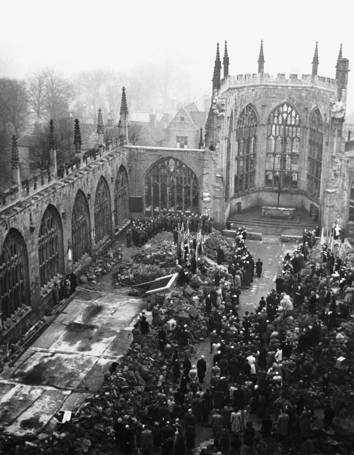 Many notable personalities, including Dr. Edvard Benes, president of Czechoslovakia, unseen, attended a Lidice Commemoration Service in Coventry Cathedral in Coventry, England on March 12, 1944. (AP Photo)