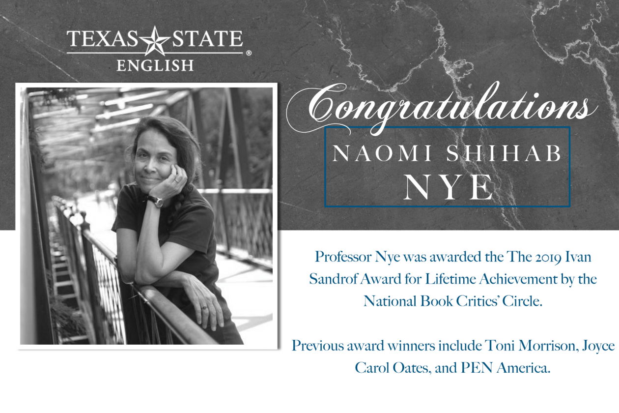 2019 Ivan Sandrof Award for Lifetime Achievement Awarded to Naomi Shihab Nye