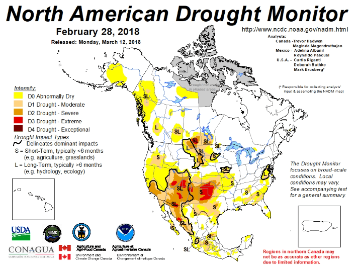 Figure 2. The North American Drought monitor for February 28, 2018. Source.