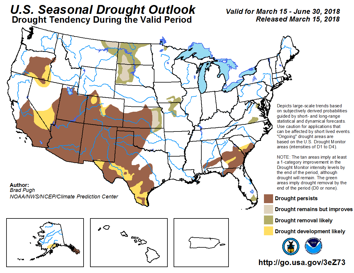 Figure 5. The U.S. Seasonal Drought Outlook for March 15 through June 30, 2018.