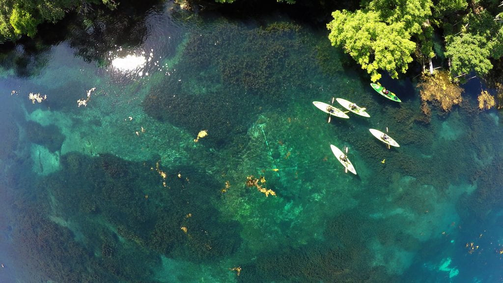 Aerial View of Paddlers at Spring Lake.