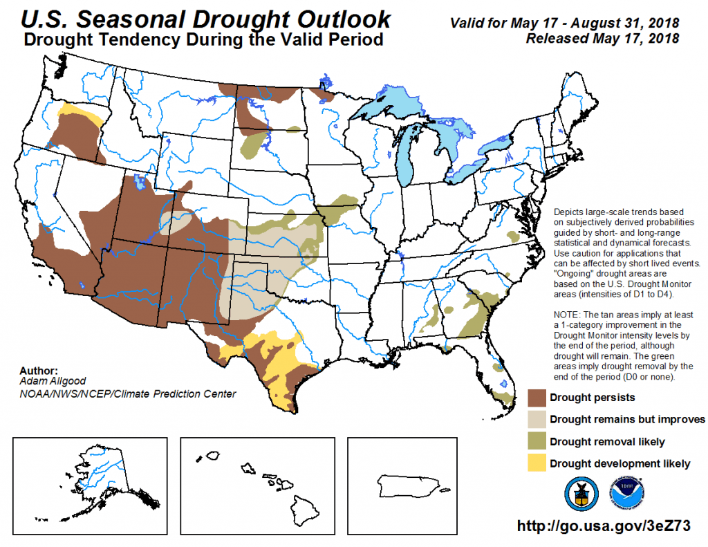 Figure 5. The U.S. Seasonal Drought Outlook for May 17 through August 31, 2018. Source.