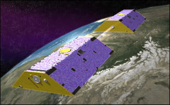 The GRACE mission detects changes in Earth's gravity field by monitoring the changes in distance between the two satellites as they orbit Earth. Source.