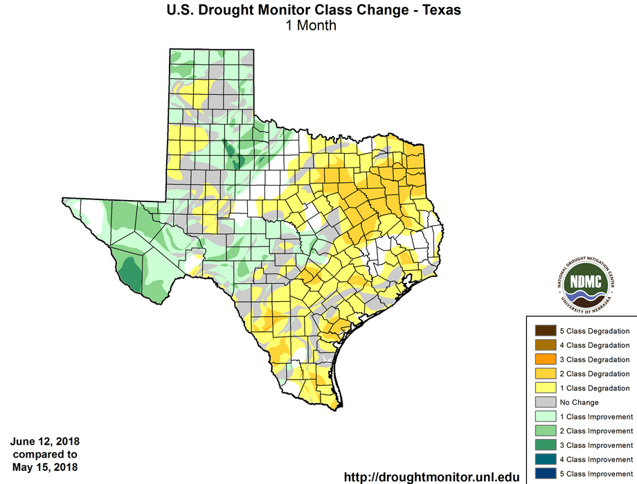 Figure 2. Changes in the U.S. Drought Monitor for Texas between May 15, 2018, and June 12, 2018. Source.